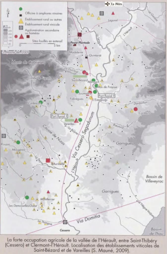 Map showing concentration of Gallo-Roman sites in the Hérault Valley  (S. Mauné 2009)